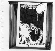 Balloon Octopus Postcard by lainey