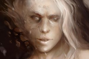 Creepy beauty - face close up by oione
