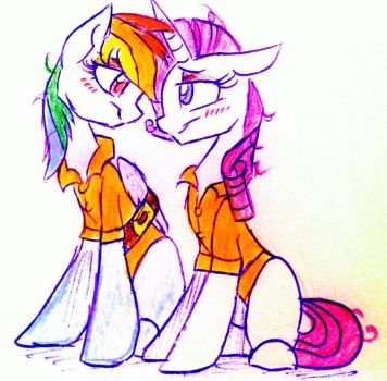 Commission: Rarity and Rainbow Dash by HiccupsTheNoodle