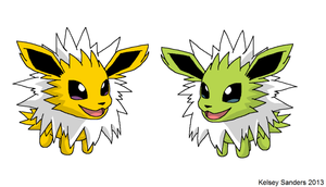 Chibi Jolteon - Normal and Shiny by KelseyEdward