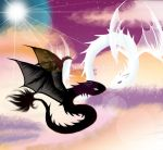 Spirit dragon black and white. by velka
