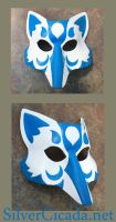 Blue and White Kitsune Leather Mask by SilverCicada