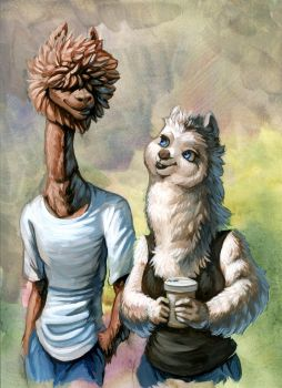 Alpacas! painted by hibbary