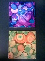 Alcohol Ink Tiles - Night Bloom and Citrus by nebulaebae