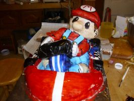 mario kart cake with hands by toastles