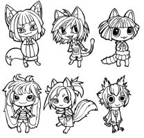 Animal Chibi Lineart by pookat