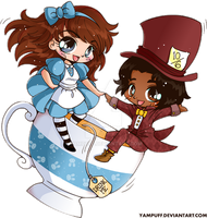 Alice and the Mad Hatter Chibi Couple Commission by YamPuff