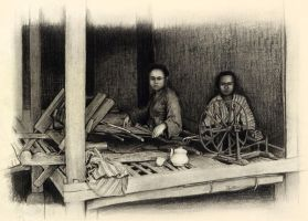 """two priangan girl weaving"" by Adisign09"
