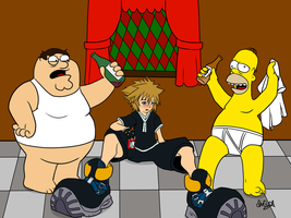 Homer, Peter, and Sora drunk by chiQs09