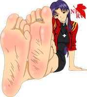 Misato bare foot by DazMatter
