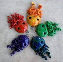 Multicolored Jellyfish Pendants by BlackMagdalena