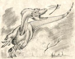 Deinonychus at Play by Dragon--Feathers