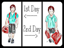 First Day versus Second Day of School by Marz27