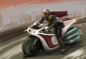 kamen rider and cyclone bike by Gatack