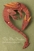 Long Red Dragon Brooch - circuit by thebluekraken