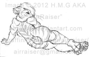 Pin Up: Saber Tiger Lounging Sketch 2012 by AirRaiser