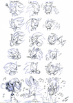 Shadow Sonic Tails expressions by Faezza