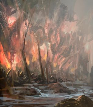 Daily spitpaint - Forest fire by snootchy