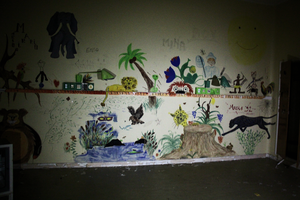 Childrens drawings in an abandoned hospital by TheManWithTheHat666