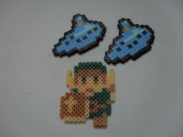 8bits Link and Ocarinas - Perler Beads by RonyeryX