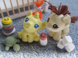 Pound and Pumpkin Cake baby pony sculpts by Sabathamk