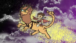 Rage Girl rides a Cat-Dragon into Space by jdlovecraft