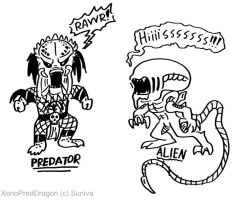 Predator and Alien -doodle- by XenoPredDragon