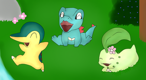 Art Trade - Johto starters by Phewmonsuta