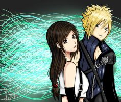 Tifa and Cloud ( Step final ) by Mitsukichan17