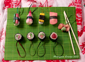 Deluxe Maki Nigiri Glitter Sushi Ornament Sampler by MorganCrone