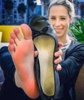 Beauty showing her lovely foot by Johntickler