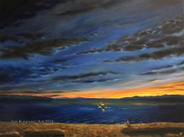 Sunset fishing boat, Oil on canvas, 40 x 30 inches by Jan-Kasparec