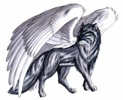 Big winged wolf - By Footroya by ArtOfThePawAndFang