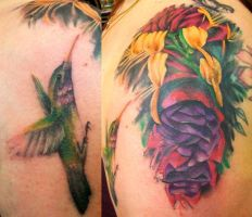 Flowers and Hummingbird by Dripe