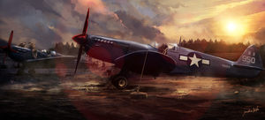 Spitfire painting by JonathanDeVos
