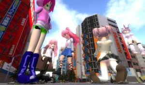 Attack of the Pink Haired Giantesses by stormthehedgehog1