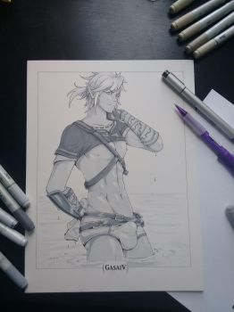 Copic Drawing Auction! BotW Link by GasaiV