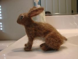 Wool felted rabbit profile by Lupineleigh