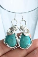 Ocean Wave Chrysocolla and Silver Earrings by SRTolton