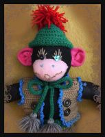 Sock Monkey Face by DarkDollArt
