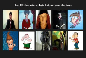 My Top 10 Characters I  Hate But Everyone Love by Normanjokerwise