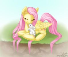 Fluttershy and Angel by LaurenMagpie