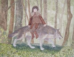 Bran Stark and Summer by agataylor