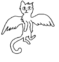 Free Winged Cat Lineart by pungender