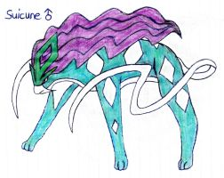 Legendary Poke'Mon SUICUNE {Drawn by My Daughter} by Empress-XZarrethTKon