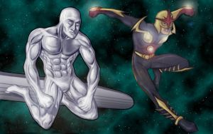 Silver Surfer and Nova by Dreee