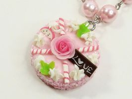 Pink Rose Cake Pearl Necklace by SweetandCo