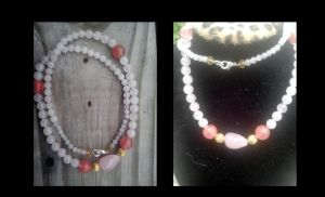Rose Quartz and gold necklace by WyckedDreamsDesigns