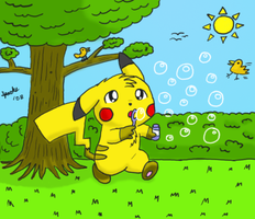 Pika Bubbles - COLORED by pichu90