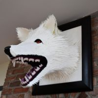 White Dire Wolf Head by strangedigital